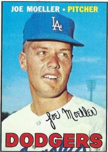 Joe Moeller was the youngest Dodger pitcher ever at 19 years and two months, a distinction that may not last the decade. Moeller and brother Gary, a catcher, signed for a combined $75,000 in 1960 and Joe was in the majors just 40 minor-league games later. He spent more time in the minors on his way out of baseball than his way into it. Moeller debuted on April 12, 1962 against the Reds, pitching the final four innings to save an 11-7 win. He started less than a week later and didn't get out of the second inning. He was 6-5 for the '62 Dodgers, and 16-11 in 63 back at AAA, then 7-13 for the parent Dodgers in '64. Moeller commuted between Spokane and Los Angeles, much of it depending on the health of Sandy Koufax's arm. Moeller had a 2.52 ERA in '66 and made his only World Series appearance that year. He spent most of '67 and '68 back at Spokane, most of the next three years with the Dodgers and all of '72 and '73 in the minors before retiring for good at age 30. As a youth, Moeller was also an accomplished archer. His final totals: 26-36, 4.01 ERA, .703 OPS against, 583.2 innings, 176 walks, 307 strikeouts, -1.5 WAR. For brother Gary, a .195 average in 87 Class D at-bats in 1961.