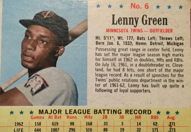 "Lenny Green was the Twins' original center fielder, moving with the team from Washington and starting on opening day at Yankee Stadium when the Twins played their first game in 1961, losing, 6-0. In the Twins home opener 10 days later, Green homered as he was wont to do. Though not a power hitter -- he hit 47 times in a 12-year career -- he homered in the Twins' home openers in 1961 and 1962 and the season opener in 1963, and he homered twice for the Red Sox in their 1965 season opener. Green died last week on his 86th birthday. Green was renowned for his ability to get on base and his coverage in the outfield, if not his arm. Patrick Reusse at startribune.com ""Green had range in center, and he could get on base and score a run, and he would be out there every day, so we forgave Lenny for his subpar throwing arm. Then again, it must be admitted that with original Twins' fans still around 20 years later, it wasn't unusual to hear this assessment of an outfielder with modest throwing ability: 'He has an arm like Lenny Green.'"" Green played for six American League teams in his career, and few hitters controlled the strike zone as well. It wasn't until 1966, nearly a decade after he debuted, that he struck out more than he walked. and it often wasn't close. In 1962 Green walked 88 times (he was eighth in the AL) and fanned just 36 (he fanned just once every 17.2 at-bats, fourth-best in the AL; Nellie Fox, who never fanned more than 18 times in a season, was first at 51.8. Fox fanned 12 times in 621 at-bats in '62, which was typical). Green's timing was never as good as his discipline. He was traded by the Twins in 1964, the year before they won the AL pennant; he was released by the Red Sox after the 1966 season, the year before they won the AL pennant; and he was released by his hometown Tigers in July of 1968 after having played in just six games in the majors and 95 at Toledo, their AAA farm team. The Tigers went on to win the World Series, and voted Green a $200 share of their World Series earnings, according to Green's bio at sabr.org. It was with the Twins that Green had his best seasons. Still in Washington, the franchise traded 1958 Rookie of the Year Albie Pearson to get Green from the Orioles after Pearson started 1959 by hitting .216 and slugging .257 in 105 games. Green had yet to establish himself -- he batted .229 with 8 extra-base hits in 148 at-bats for the Orioles over three seasons -- but he did with the Senators. Green batted .294 with 43 walks, 21 steals, a .383 on-base percentage and .814 OPS in 1960, and put up similar numbers in his first two seasons in Minnesota. In 1961 he had a 24-game hitting streak -- which was a Twins record until Ken Landreaux broke it in 1979 -- on his way to a .285/374/400 season, and in '62 he hit a career-high 14 homers on his to a .271/367/402 mark. He did all that while playing center field primarily between left fielder Harmon Killebrew (-2.0 defensive WAR in '62) and right fielder Bob Allison. The '62 Twins won 91 games and finished second behind the Yankees; they were as close as 2.5 games out on Sept. 9 after the Red Sox swept New York in a doubleheader, but never got closer and finished five games back. In 1963, Green slumped to .239/315/325 and rookie centerfielder Jimmie Hall hit 33 homers, making Green expendable. He went to the Angels and then the Red Sox, by way of the Orioles, and he started for Boston in 1965 (276/361/429). He lost his starting job in 1966 with the acquisition of Don Demeter and his spot on the roster after the season with the advancement of rookie Reggie Smith. The Tigers signed him and hit .329 in Toledo until Al Kaline broke a finger and missed most of July and pinch-hitter extraordinaire Gates Brown hurt his wrist. Green played 58 games and hit .278, largely in their absence, and his playing team decreased during September. Green did double and score the game's only run on Sept. 26 in a 1-0 Mickey Lolich shutout of the Yankees which kept the fourth-place Tigers 1.5 games behind the first-place Twins with four games to play. But the Tigers split two doubleheaders with the Angels, the Red Sox beat the Twins twice and the White Sox were swept by the Senators, shut out twice. The Tigers finished second, but lost a chance to tie for first in the season's final game. Career numbers: .267 average, .351 on-base percentage, .379 slugging percentage, 788 hits, 461 runs, 253 RBIs, 368 walks, 260 strikeouts, 78 steals, 41 caught stealings, 47 homers, 138 doubles, 99 OPS+, 8.4 WAR (2.0, 2.2, 2.2 from 1960-62), .440 average (11-25) with three doubles three walks and a triple off Hall of Famer Robin Roberts."